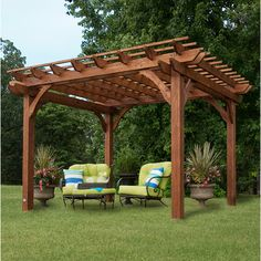 """Features:  -Beautiful, Chinese cedar pergola adds a """"Mediterranean feel"""" to any patio area.  -Constructed of all Chinese cedar wood which is naturally decay, rot and insect resistant.  -Contains its u"""