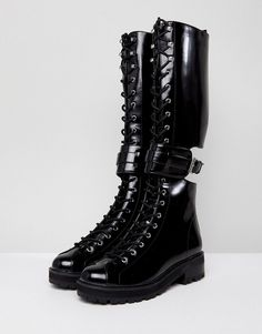 b0ec091fdca2fe Stradivarius Patent Knee High Worker Boots. Worker BootsTall BootsLace Up  BootsBlack ...