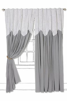Love this look, definitely need to see in person and consider bedding first. Pheasant Eye Curtain #anthropologie