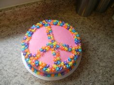 peace sign cake (using candy?)