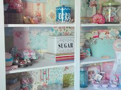 Love the paper in the back of the hutch.