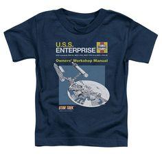 Star Trek/Enterprise Manual Short Sleeve Toddler Tee in Navy, Toddler Boy's