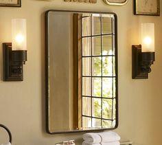 Urban Antique Bathroom. Cool Newspaper Wallcovering:  Vintage Recessed Medicine Cabinet #potterybarn