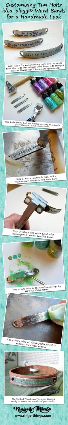 Get the look of metal stamping without all the effort.  This tutorial from Rings & Things will show you how to customize Tim Holtz word bands for a handmade look.