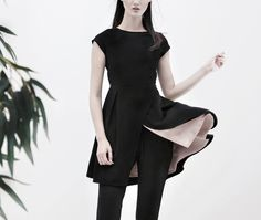 NIKKI cutout crepe tunic - AINE SPRING SUMMER 2016 - #black #tunic #long #top #contrast #lining