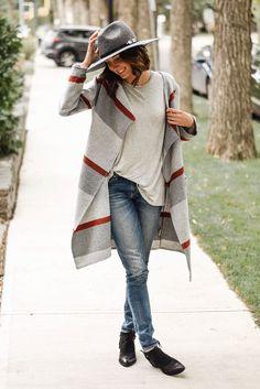 boho blanket cardigan fall outfit bmodish