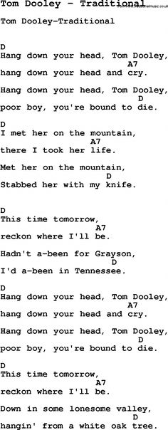 Song Tom Dooley by Traditional, with lyrics for vocal performance and accompaniment chords for Ukulele, Guitar Banjo etc. Song Lyrics And Chords, Learn Guitar Chords, Easy Guitar Songs, Guitar Chords For Songs, Music Chords, Music Guitar, Acoustic Guitar, Guitar Pins, Music Music