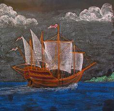 Waldorf chalkboard drawing, Across the Sea