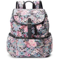 Candie's Nicole Floral Backpack (Pink) ($24) ❤ liked on Polyvore featuring bags, backpacks, backpack, pink, accessories, floral, drawstring bag, zipper bag, pink backpack and buckle backpack