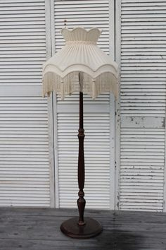 LIG013-Vintage Turned Standard Lamp with Large Fancy Fringed Shade