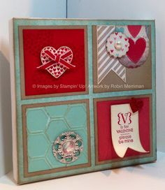 Altered One spot canvas. Used Stampin' Up's More Amore Product line - Hearts - a - Flutter stamps and Framelits and Designer Paper. <3 #Leadership2013