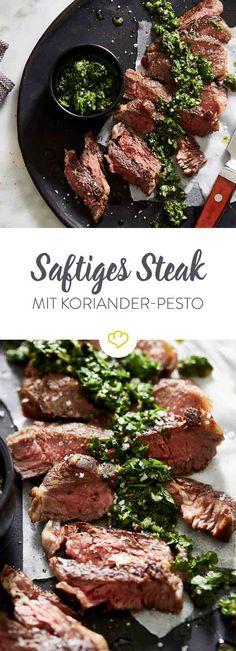 Die würzige Geheimwaffe auf deinem Low-Carb-Teller: frisches Koriander-Pesto. Das gibt zartem Rindfleisch auch ohne Beilagen den intensiven Geschmackskick.