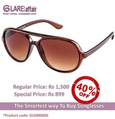 Farenheit FA-802 Brown Brown Gradient Aviator Sunglasses http://www.glareaffair.com/sunglasses/farenheit-fa-802-brown-brown-gradient-aviator-sunglasses.html  Brand : Farenheit  Regular Price: Rs1,500 Special Price: Rs899  Discount : Rs601 (40%)