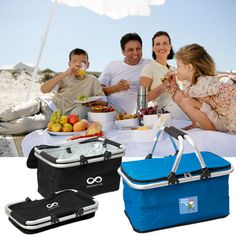 PC8693 FAMILY SNACKER PICNIC BASKET - This folding cooler is easy to store after you finish your family picnic!