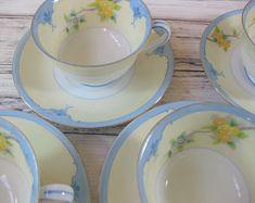 Noritake China Cups and Saucers, China Tea Set, Handpainted Japanese Porcelain Tea set, 5 pcs