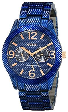 Women's Wrist Watches - GUESS Womens U0288L1 Dazzling Blue Denim HiShine Sport Watch * Click image to review more details. (This is an Amazon affiliate link)