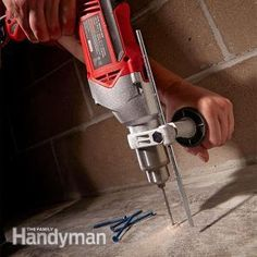 Drilling into Concrete Tools: Rotary Hammers and Hammer Drills. Get the Drilling Into Concrete Tools guide: http://www.familyhandyman.com/tools/drills/drilling-into-concrete-tools-rotary-hammers-and-hammer-drills/view-all