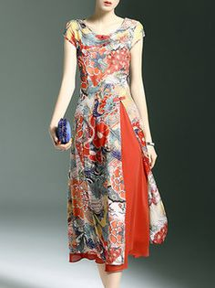 Printed Vintage Sleeveless Midi Dress                                                                                                                                                                                 More