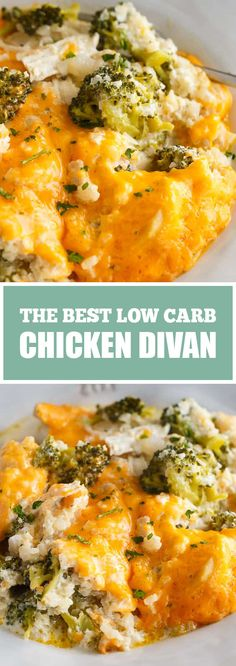 This Low Carb Chicken Divan is simply divine! This comforting casserole has a creamy sauce made with chicken, broccoli, cheddar cheese and c. Low Carb Chicken And Broccoli, Chicken Cauliflower, Broccoli Recipes, Cauliflower Recipes, Broccoli Cheddar, Cheddar Cheese, Creamy Chicken, Chicken Divan Casserole, Chicken Divan Recipe