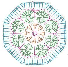 Transcendent Crochet a Solid Granny Square Ideas. Inconceivable Crochet a Solid Granny Square Ideas. Crochet Squares, Hexagon Crochet Pattern, Crochet Flower Patterns, Crochet Diagram, Crochet Chart, Crochet Granny, Crochet Motif, Diy Crochet, Crochet Stitches