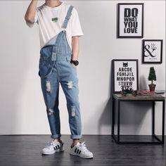 34e2bac06a70 S-4XL Men s jeans suspenders tide tooling denim tide bodysuit slim trousers  bib pants jeans jumpsuit overalls DJ singer costumes