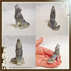 Tiny Howling Wolf Sculpture by lily-inabottle.deviantart.com on @deviantART