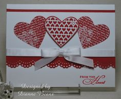 """Stamping From The Heart: Valentines   The hearts were from two Stampin' Up sets--""""Punched Potpourri"""" and """"Filled with Love"""""""