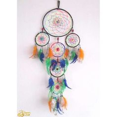 "Dreamcatcher Colorido com Ohm * #dreamcatcher #colors #colorful #psychedelic #ohm #decor #handmade…"""