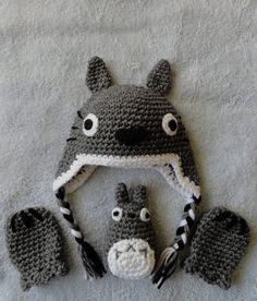 Totoro inspiración sombrero del bebé manoplas y set por scotako