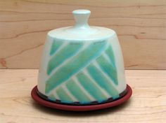 Hand made butter dish with turquoise glaze pattern.  Kalika Bowlby Pottery-contemporary ceramics.
