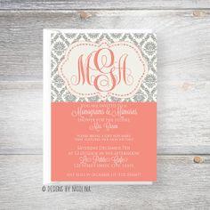 Monograms & Mimosas /// Damask Style /// Bridal or Wedding Shower Invitations