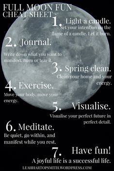 Full Moon Fun – 7 Ways to Use the May Full Moon to Have Fun & Manifest Your Dreams ✨Full Moon Fun – the cheat sheet! Save this pic & use it as part of your Full Moon ritual tonight ✨ Click through for the full post Full Moon Spells, Full Moon Ritual, Full Moon Meditation, New Moon Rituals, Wiccan Spells, Magick, Witchcraft Herbs, Wiccan Rituals, Hoodoo Spells