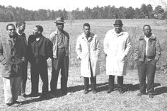 Left to right: Bob Moses, Julian Bond, Curtis Hayes, unidientified, Hollis Watkins, Amzie Moore, and E.W. Steptoe. Mississippi, 1963.