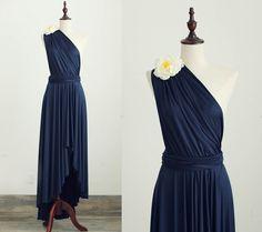 One Shoulder Navy Blue Bridesmaid Dress Infinity Dress By Misdress   Wedding Interest