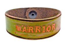 Neon orange/ pastel army green wash WARRIOR  by LeatherCoutureLV, $40.00