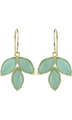 Irene Neuwirth chrysoprase marquis earrings in 18k yellow gold