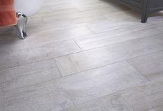 Frosted elm bathroom floor tiles feature a wood grain texture Bathroom Floor Tiles, Wood Bathroom, Bathroom Inspo, Bathroom Styling, Bathroom Furniture, Furniture Decor, Tile Floor, Family Bathroom, Minimalist Bathroom Design