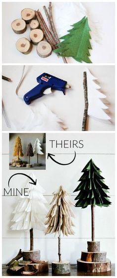 DIY Rustic Felt Christmas Trees - Create these super easy (and inexpensive!) felt trees for a fraction of the price! Find the tutorial at Littlehouseoffour.com