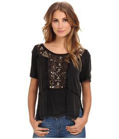 Free People Embellished Tee Washed Black - 6pm.com