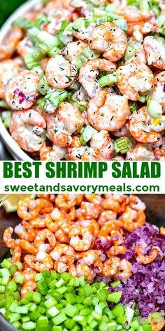 Shrimp Salad Recipe - Sweet and Savory Meals - Recipes Shrimp Dishes, Shrimp Recipes, Fish Recipes, Recipes Using Salad Shrimp, Salad With Shrimp, Sea Food Salad Recipes, Shrimp Avocado Salad, Recipies, Cooking Recipes