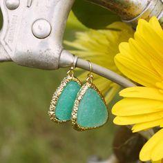 Sweet Mint Druzy Earrings