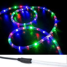 WYZworks 150' RGB Multi-Color LED Rope Lights w/ (Pre-attached Power Cable) - Flexible 2 Wire Accent Christmas Party Decoration Lighting  This #LED #rope #light is your must-have decor for holidays and parties. Versatile, affordable, easy to use and install. Small LED bulbs encased in flexible PVC tubing enhancing durability and allows for easy bending into shapes to create mesmerizing effects. 2-Wires features steady burn and much less energy consumed.