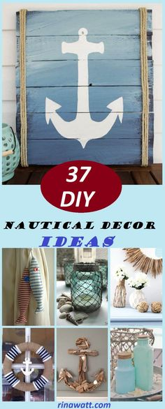37 Exciting and Cheap DIY Nautical Decor Ideas to Help You Sail Away Make a S. - 37 Exciting and Cheap DIY Nautical Decor Ideas to Help You Sail Away Make a Sailboat with Wood a - Fun Crafts, Diy And Crafts, Nifty Diy, Painted Stools, Blogger Home, Country Christmas Decorations, Diy Signs, Wooden Diy, Diy Home Decor