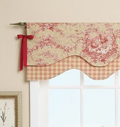 Reversible Window Valance-One Size Only Image 3 of 6 Kitchen Window Valances, Kitchen Curtains, Window Coverings, Window Treatments, Deco Champetre, Window Dressings, Drapes Curtains, Drapery, Soft Furnishings