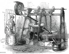 Chocolate mill, 1886. Illustration from Cyclopaedia of Useful Arts, Mechanical and Chemical, Manufactures, Mining, and Engineering, by Charles Tomlinson, Volume I, (James S Virtue, London, 1886).