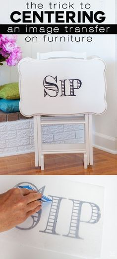 DIY furniture makeover trick. See just how easy it is to center a transferred image onto a piece of furniture or any surface. Get it right the first time with this tip. | In My Own Style