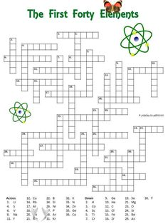 Free Printable Elements Crossword Chemistry crossword<br> This free pritnable crossword would be great for a class in chemistry. It features the first 40 elements of the periodic table and uses their symbol as a clue. Crossword Puzzles, Free Printables, Crossword, Free Printable