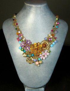 Flower Statement Necklace Repurposed Jewelry by BluKatDesign,