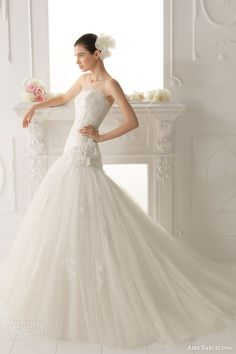 aire barcelona wedding dresses 2014 bridal omar strapless fit flare gown