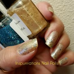 Gold pearl flakies with teal holo glitter! Love this color combo, glitter makes everything better and can make any polish look totally different. Shop my Etsy store or my website @ www.inspurrrations.com